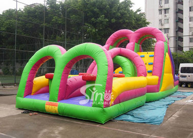 Cina Outdoor Colorful Anak Inflatable Game Interaktif Dengan Big Double Slide pemasok