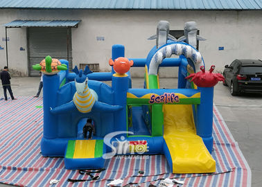 Sealife Inflatable Combo Bouncy Castle Dengan Slide Untuk Anak-Anak Inflatable Playground Party Time