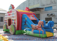 Pink Princess Carriage Inflatable Jumping Castle Slide Dengan Bahan Bebas Timbal